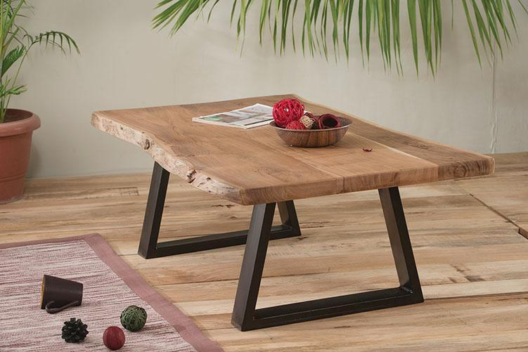Solid wood center coffee table live shore