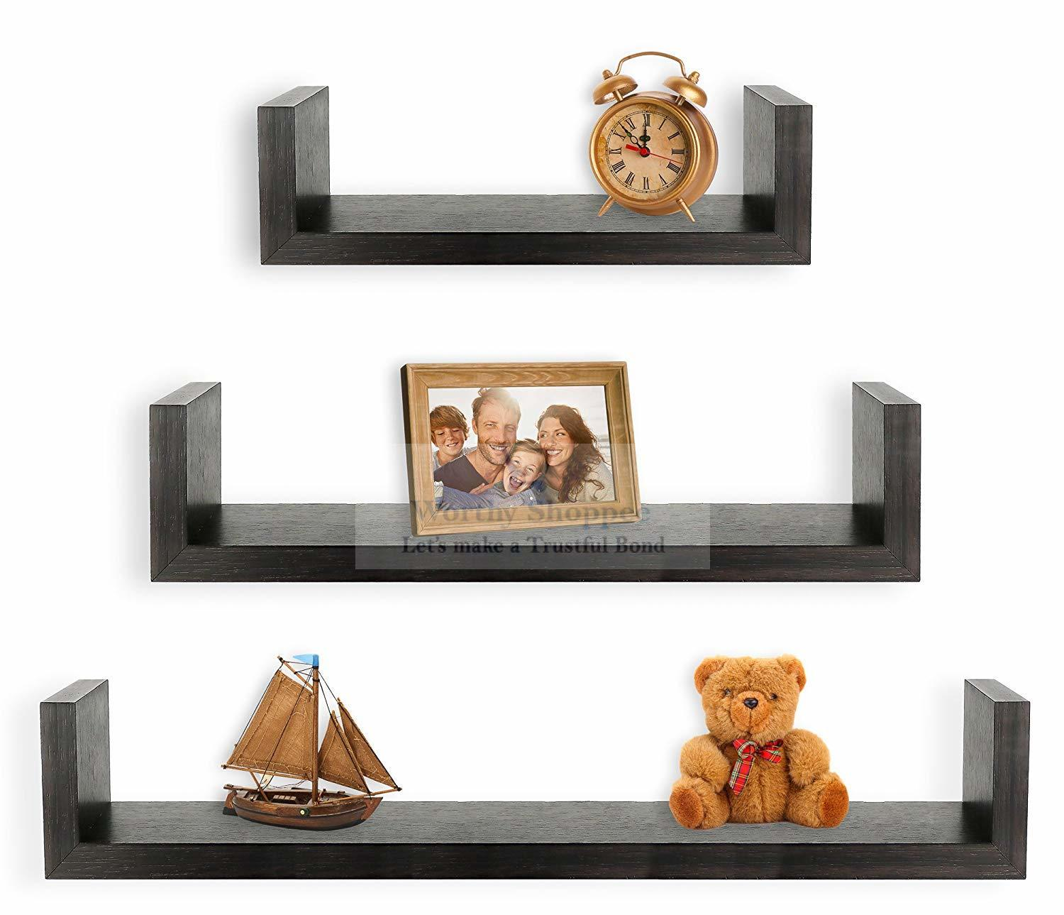Home Decor/Wall Decor Set of 3 Floating U Shelves U Rack