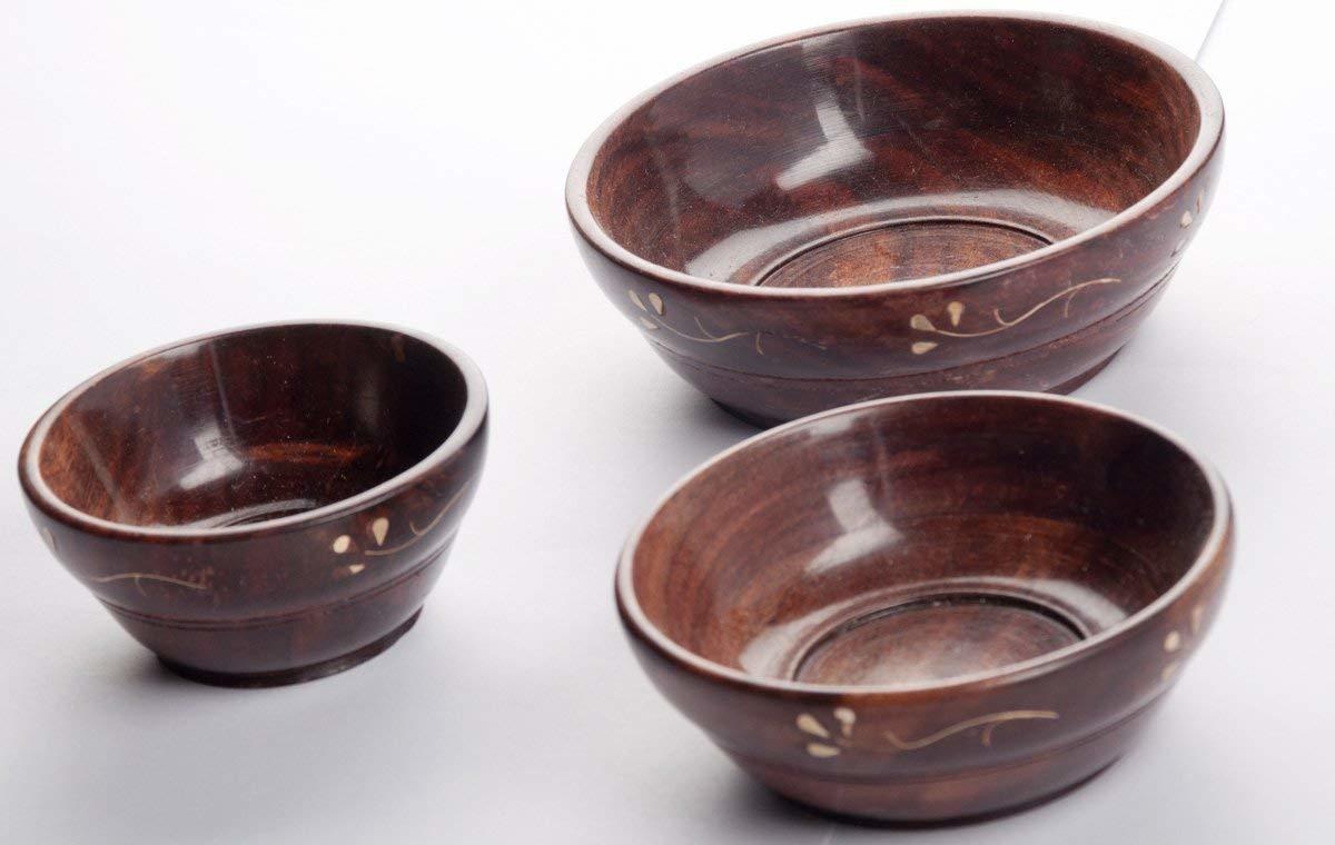 Wooden Serving Bowl - Set of 3 (Brown)