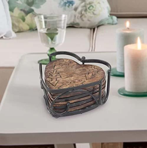 Handmade Wood and Iron Drink Coasters Sets with Holder Set of 6 in a Heart Shaped Holder with Heart Design