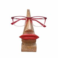 Wooden Nose Shaped Eyeglass Spectacle Holder Display Stand Home Decorative Red Lip