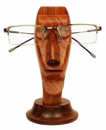 Wooden Spectacle Stand Nose Shape Handcrafted Eyeglass Holder Organizer (Silver)