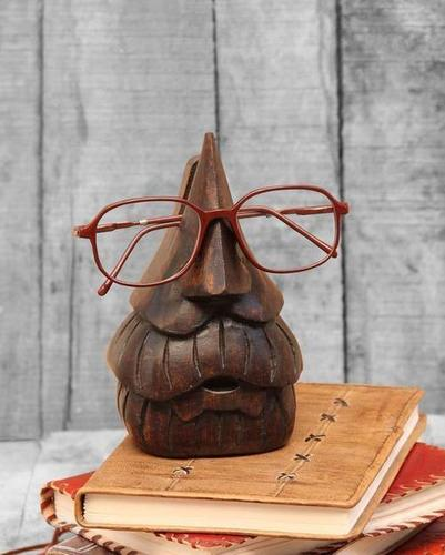 Thanksgiving Gifts Handcrafted Wooden Eyeglass Spectacle Holder Organizer Stand Desk Desktop Sunglasses Display Eyewear Decorative Accessories Nose Shaped (Beard Spec)