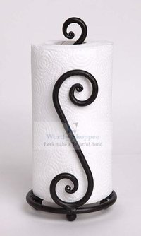 Paper Towel Holder, Decorative and Wrought Iron Holder, One-Handed Tearing, Non-Slip Stability (Dark Black