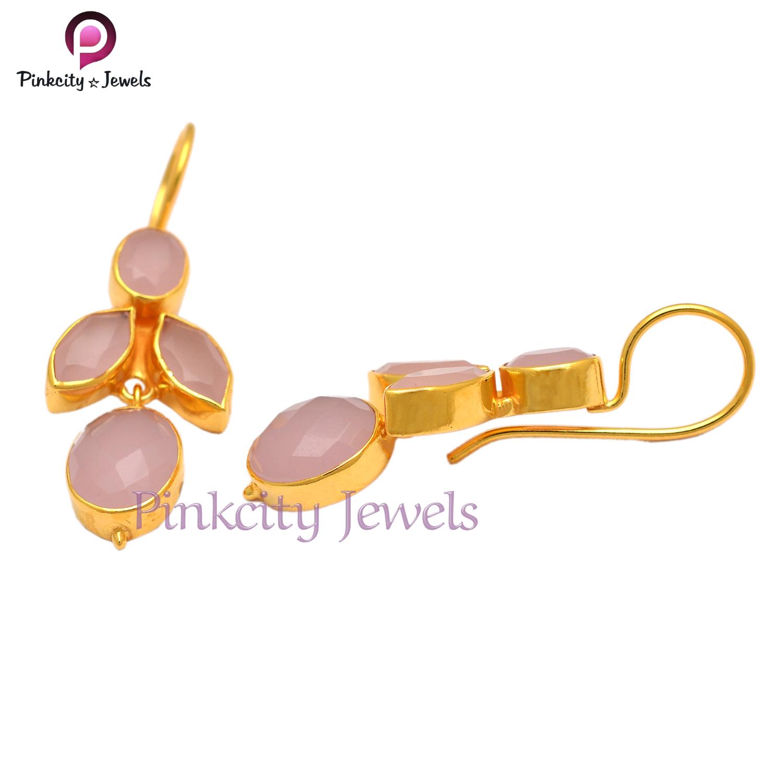 Pink Chalcedony 925 Silver Earring