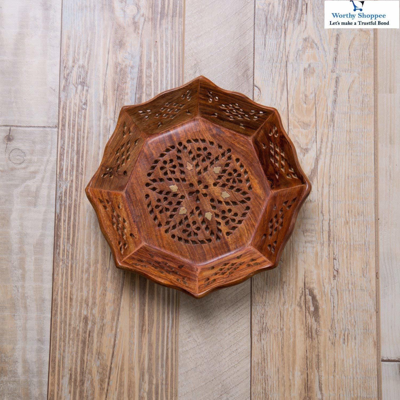 Wooden Tray Breakfast Serving Trays Decorative Trays Kitchen Wooden Serving Tray Round - Brass Meshwork | Handmade | Medium (11.5 x 11.5 x 2 in)
