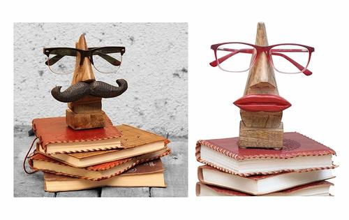 Pair of Specs Holder Wood - Nose Shaped Hand Carved Wooden Spectacles Sunglasses Eyeglass Holder Stand