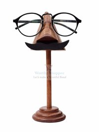 Mustache Handmade Wooden Nose Shaped Spectacle Holder Specs Stand for Office Deskto/Tabletop