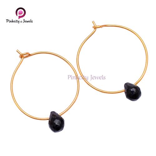Natural Black Onyx 925 Silver Bali Earring