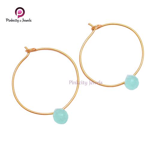 Beautiful Blue Chalcedony 925 Silver Earring