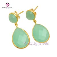 Aqua Chalcedony Faceted 925  Silver Earring