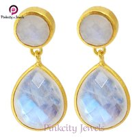 Natural Rainbow Moonstone Faceted Gold Plated 925 Silver Earring