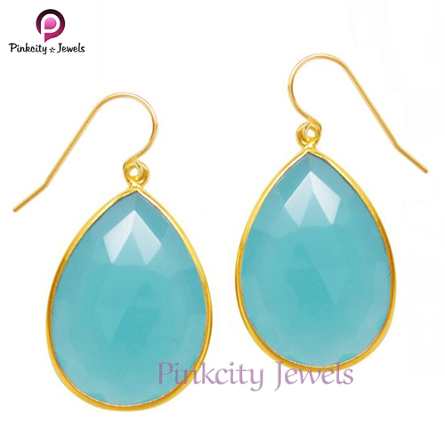 Blue Chalcedony Faceted 925 Silver Earring