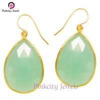 Hot Sale Beautiful Aqua Chalcedony Faceted Sterling Silver Earring