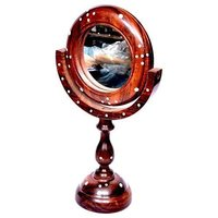 Antique Fancy Design Handicraft Brown Wooden Mirror Stand