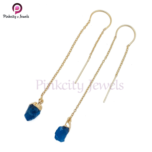 Natural Neon Apatite Druzy 925 Silver Earring
