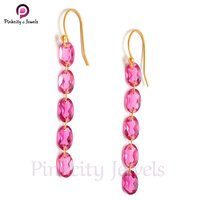 Pink Tourmaline Faceted 925 Silver Earring