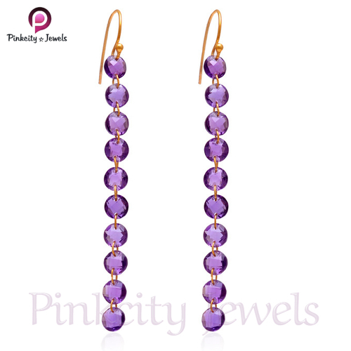 Amethyst Faceted 925 Silver Earring