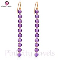 Round Amethyst Faceted 925 Silver Earring