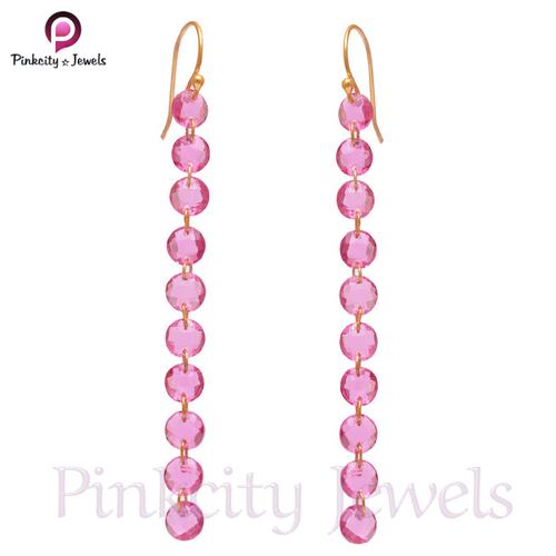Pink Tourmaline 925 Silver Earring