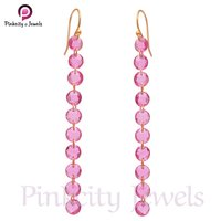 Hot Pink Tourmaline Round Faceted Gemstone 925 Silver Earring