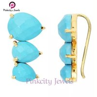Beautiful Turquoise Faceted 925 Silver Earring