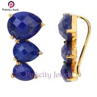 Natural Lapis Faceted 925 Silver Earring