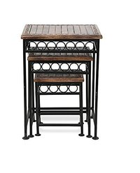 Home Decor Fancy Design Wood & Iron Table Set of 3 Size(LxBxH-17x14x23.5) inch