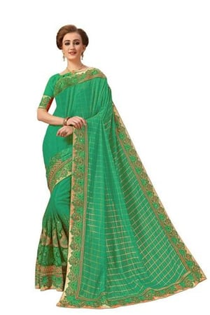 embroidered lycra net saree in green