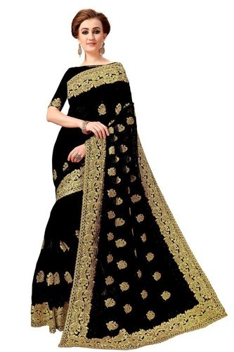 Heavy embroidered net saree in black
