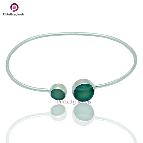 Green Druzy 925 Silver Bangle