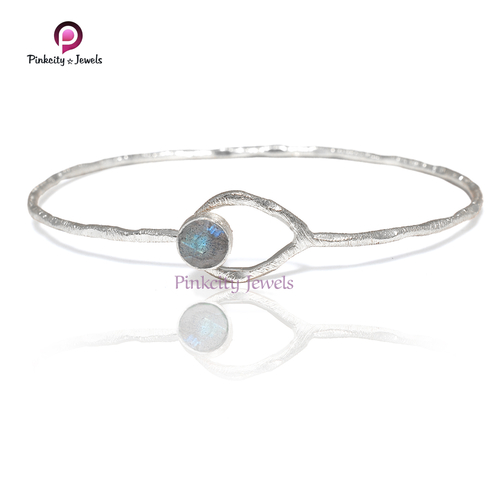High Quality Labradorite 925 Silver Bangle