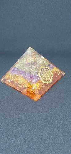 Orgone Blue And Orange Onxy With Flower Of Life Logo Pyramid.