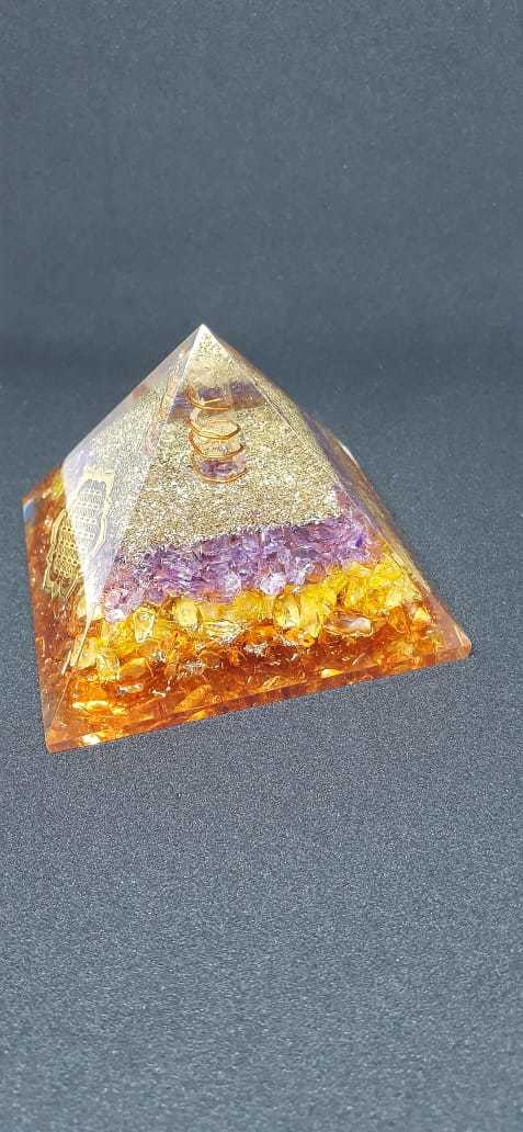 Orgone Blue And Orange Onxy With Flower Of Life Logo Pyramid.