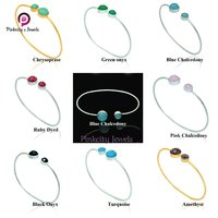 Blue Chalcedony 925 Silver Bangles