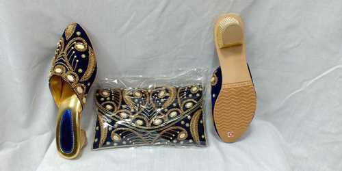 women embellishment shoes & purse