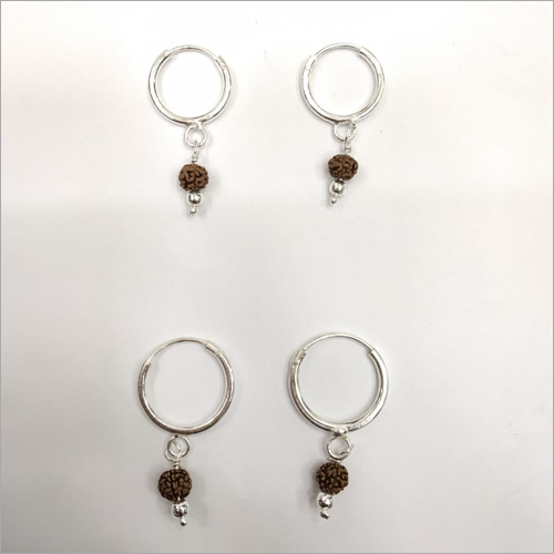 Rudraksh Silver Hoop Earrings