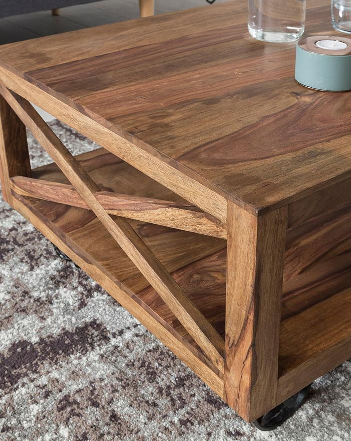 Wooden center Coffee Table with Iron Wheels