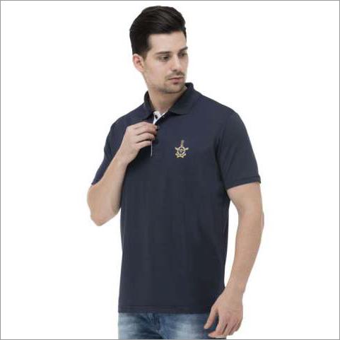 Mens Navy Blue & White T-Shirt