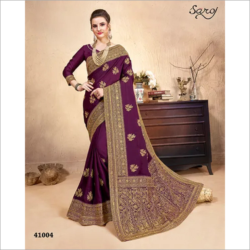 Purple color with zari work Saree