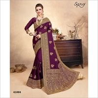 Purple color with zari work Saree