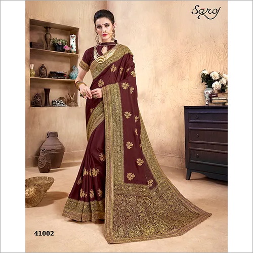 Silk Saree With Marooncolor with Work Saree