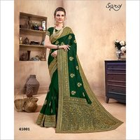 Zari Butti With Bordered work Saree