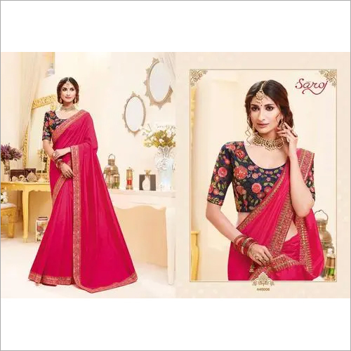 Magenta Color Heavy Silk Saree