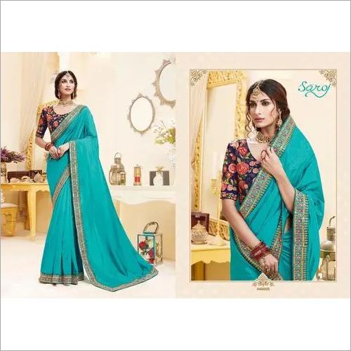 Sky Blue Color Silk Saree