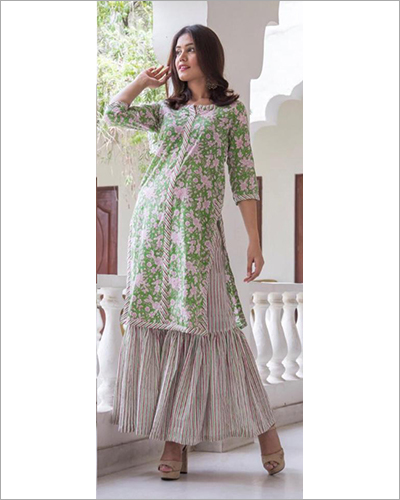 Flex Cotton Print With Sharara Palazzo
