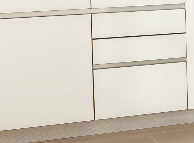 High gloss PETG molded cream grey combined white color painted kitchen cabinet