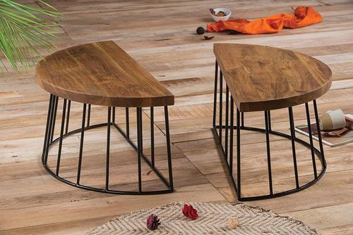 Wooden center table Detachable With Iron rings base