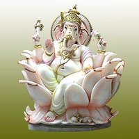 Marble Ganesh Statue With Lotus