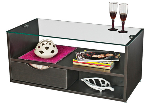 Wooden center coffee table with Rack Archie
